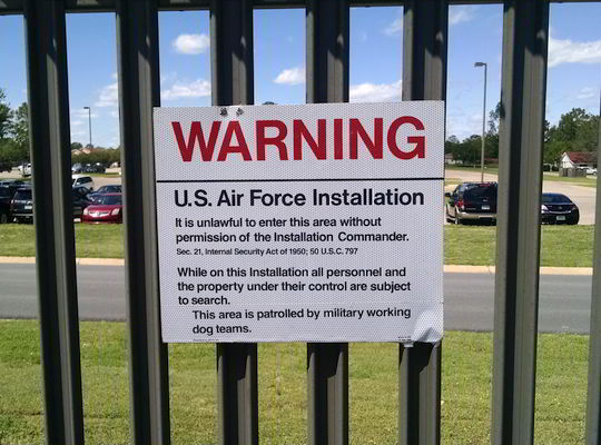 Warning sign posted at Maxwell AFB