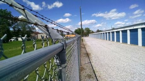 Secure self-storage units with razor-wire perimeter fencing in Montgomery, AL