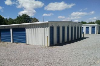 Self Storage Unit Prices Montgomery AL - self service mini storage with blue overhead sliding doors