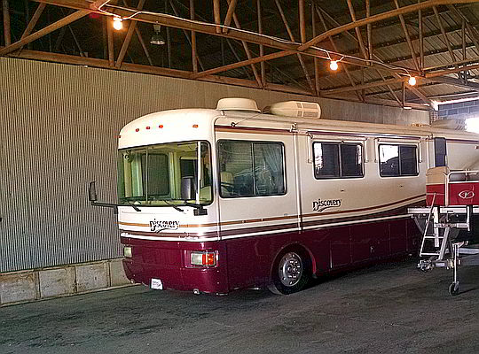 Motorhome parked in our indoor warehouse