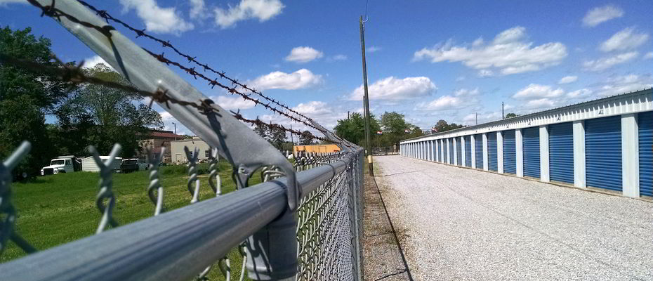 Secure Storage Units in Montgomery, Alabama - with perimeter razor-wire fencing