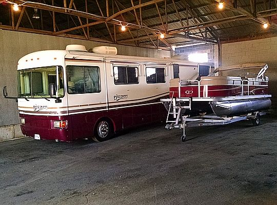 Motorhome & boat in long term storage