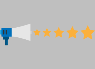 Illustration of 5-star storage customer review shouted from megaphone